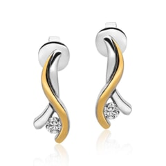Stud Earrings in 18K Gold and 0.19 carat Diamonds
