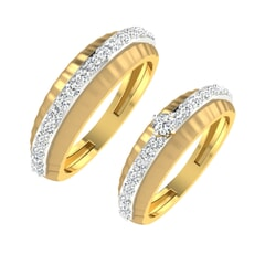 18K Gold and 0.57 Carat E Color and VS Clarity Diamond Couple Ring
