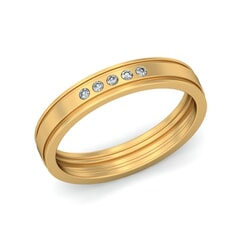 18KT Gold and 0.08 Carat F Color VS Clarity Diamond Band