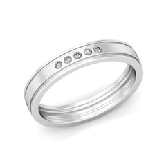 Platinum and 0.08 Carat F Color VS Clarity Diamond Band