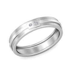 Platinum and 0.03 Carat F Color VS Clarity Diamond Band