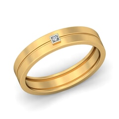 18KT Gold and 0.01 Carat F Color VS Clarity Diamond Band