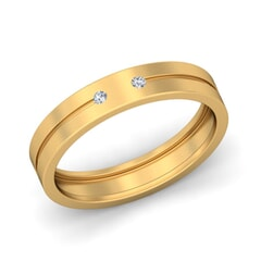 18KT Gold and 0.05 Carat F Color VS Clarity Diamond Band