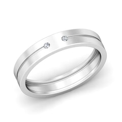 Platinum and 0.05 Carat F Color VS Clarity Diamond Band