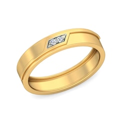 18KT Gold and 0.03 Carat F Color VS Clarity Diamond Band