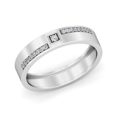 Platinum and 0.14 Carat F Color VS Clarity Diamond Band