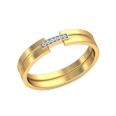 18KT Gold and 0.04 Carat F Color VS Clarity Diamond Band