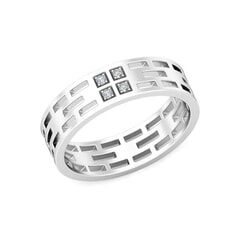 Platinum and 0.06 Carat F Color VS Clarity Diamond Band