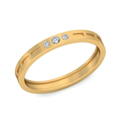 18KT Gold and 0.06 Carat F Color VS Clarity Diamond Band