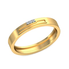 18KT Gold and 0.02 Carat F Color VS Clarity Diamond Band
