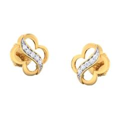 18K Gold Earring and 0.13 carat Diamonds