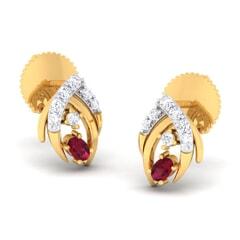 18K Gold Earring and 0.24 carat Diamonds
