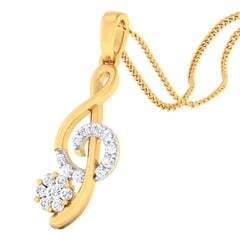 18K Gold Pendant and 0.19 carat Diamonds