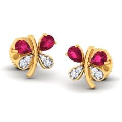 18K Gold Earring and 0.07 carat Diamonds