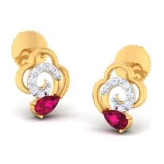18K Gold Earring and 0.18 carat Diamonds