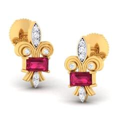 18K Gold Earring and 0.12 carat Diamonds