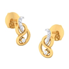 18K Gold Earring and 0.14 carat Diamonds