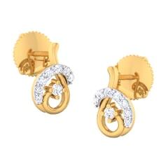 18K Gold Earring and 0.17 carat Diamonds
