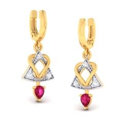 18K Gold Earring and 0.11 carat Diamonds