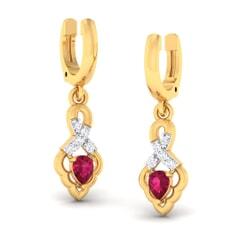 18K Gold Earring and 0.10 carat Diamonds