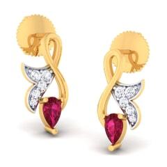 18K Gold Earring and 0.16 carat Diamonds
