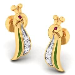 18K Gold earring and 0.056 carat Diamonds