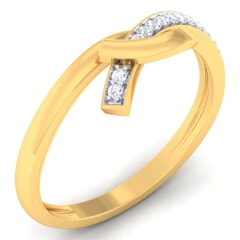 18K Gold and 0.09 Carat F Color and VS Clarity Diamond Asian Vogue Ring