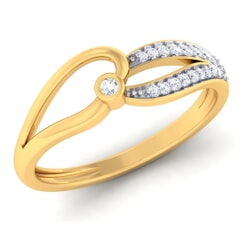 18K Gold and 0.13 Carat F Color and VS Clarity Diamond Asian Vogue Ring