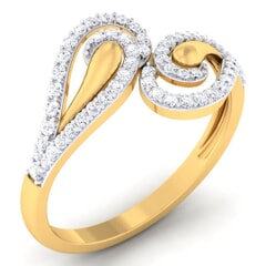 18K Gold and 0.38 Carat F Color and VS Clarity Diamond Asian Vogue Ring