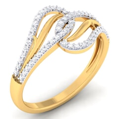 18K Gold and 0.31 Carat F Color and VS Clarity Diamond Asian Vogue Ring