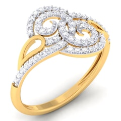 18K Gold and 0.32 Carat F Color and VS Clarity Diamond Asian Vogue Ring