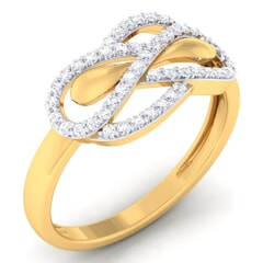 18K Gold and 0.30 Carat F Color and VS Clarity Diamond Asian Vogue Ring