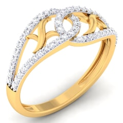 18K Gold and 0.34 Carat F Color and VS Clarity Diamond Asian Vogue Ring