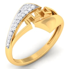 18K Gold and 0.15 Carat F Color and VS Clarity Diamond Fashion Ring