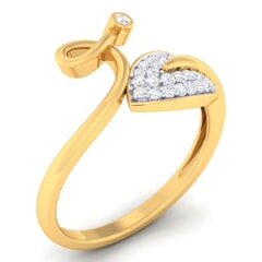 18K Gold and 0.17 Carat F Color and VS Clarity Diamond Asian Vogue Ring