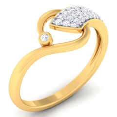 18K Gold and 0.18 Carat F Color and VS Clarity Diamond Asian Vogue Ring