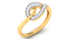 18K Gold and 0.22 Carat F Color and VS Clarity Diamond Asian Vogue Ring