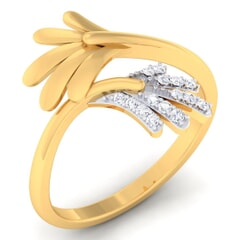 18K Gold and 0.11 Carat F Color and VS Clarity Diamond Asian Vogue Ring