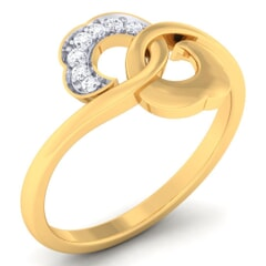 18K Gold and 0.06 Carat F Color and VS Clarity Diamond Asian Vogue Ring