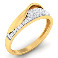 18K Gold and 0.28 Carat F Color and VS Clarity Diamond Asian Vogue Ring