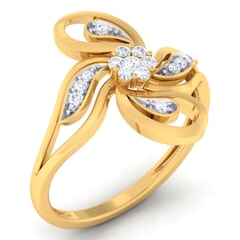 18K Gold and 0.20 Carat F Color and VS Clarity Diamond Asian Vogue Ring