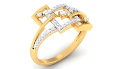 18K Gold and 0.29 Carat F Color and VS Clarity Diamond Asian Vogue Ring