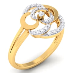 18K Gold and 0.25 Carat F Color and VS Clarity Diamond Asian Vogue Ring