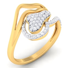 18K Gold and 0.33 Carat F Color and VS Clarity Diamond Asian Vogue Ring