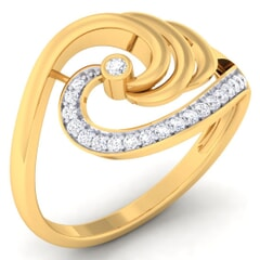 18K Gold and 0.16 Carat F Color and VS Clarity Diamond Asian Vogue Ring