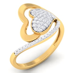 18K Gold and 0.37 Carat F Color and VS Clarity Diamond Asian Vogue Ring