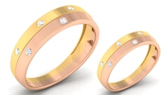 18K Gold and 0.32 Carat E Color and VS Clarity Diamond Couple Ring