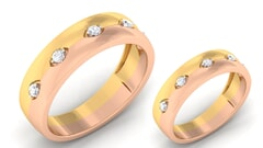 18K Gold and 0.24 Carat E Color and VS Clarity Diamond Couple Ring