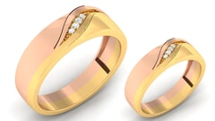 18K Gold and 0.09 Carat E Color and VS Clarity Diamond Couple Ring