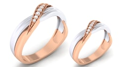 18K Gold and 0.20 Carat E Color and VS Clarity Diamond Couple Ring